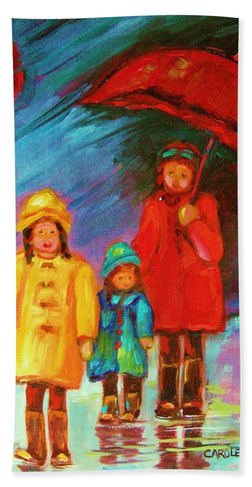 Rainy Day Beach Towel featuring the painting The Red Umbrella by Carole Spandau