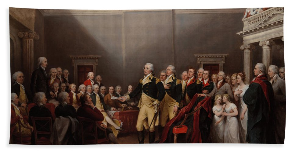 Painting Beach Towel featuring the painting The Resignation Of General George Washington by Mountain Dreams