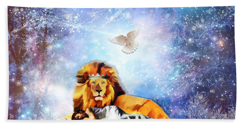 Lion Of Judah Beach Towel featuring the digital art The Resting Place by Dolores Develde