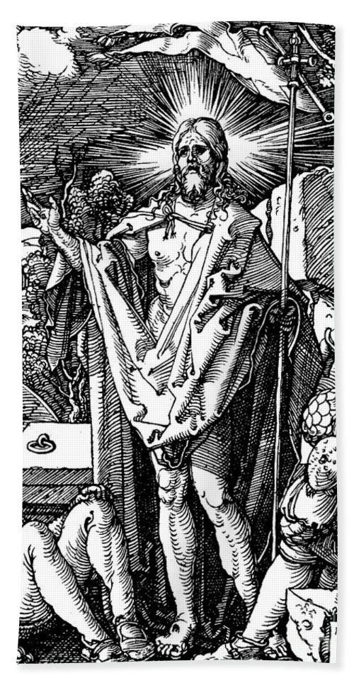 Resurrection Beach Towel featuring the drawing The Resurrection, From The Small Passion by Albrecht Durer