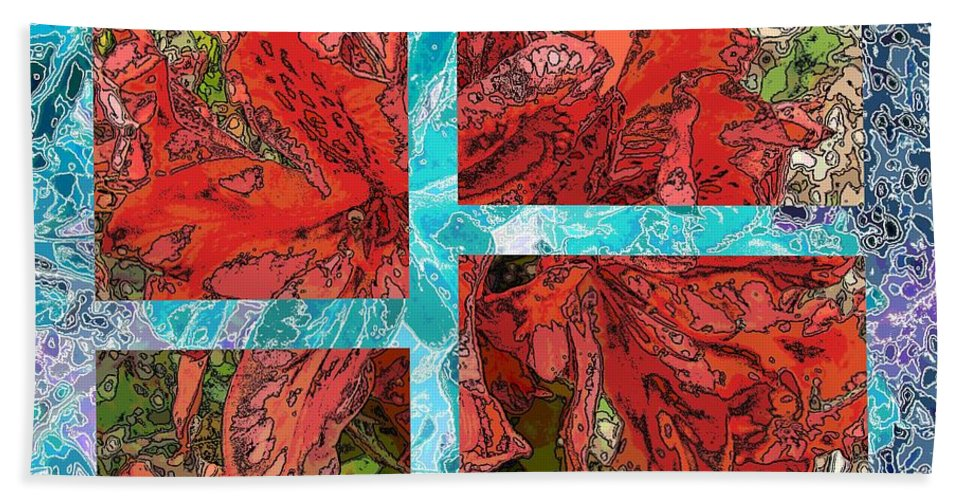 Abstract Beach Towel featuring the digital art The Rhody 05 by Tim Allen