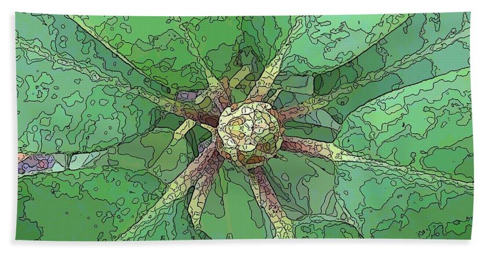 Flower Beach Towel featuring the digital art The Rhody Bud by Tim Allen