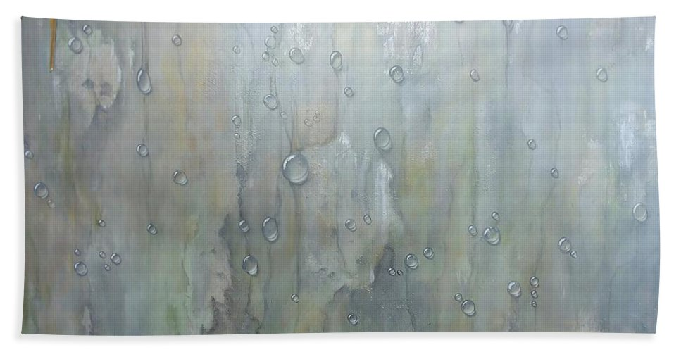 Abstract Beach Towel featuring the painting The Rhythm Of Falling Rain by T Fry-Green