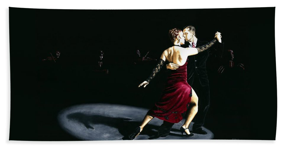 Tango Beach Towel featuring the painting The Rhythm of Tango by Richard Young