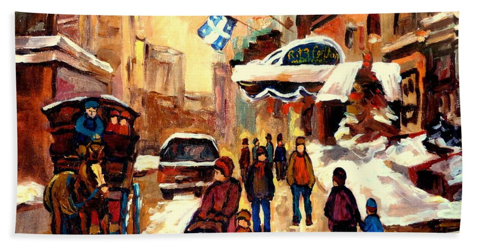 The Ritz Carlton Montreal Streetscenes Beach Towel featuring the painting The Ritz Carlton Montreal Streetscene by Carole Spandau