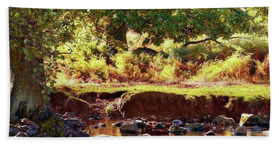 Linvalley Beach Towel featuring the photograph The River Lin , Bradgate Park by John Edwards