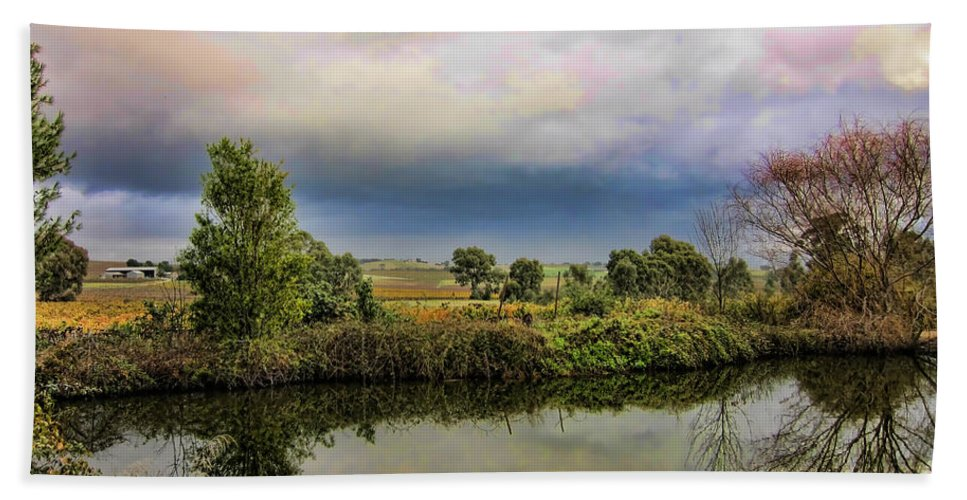Country Beach Towel featuring the photograph The Riverbank by Douglas Barnard