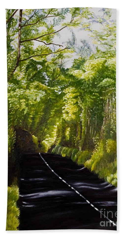 Landscape Beach Towel featuring the painting The Road Through Glenastar by Pauline Sharp
