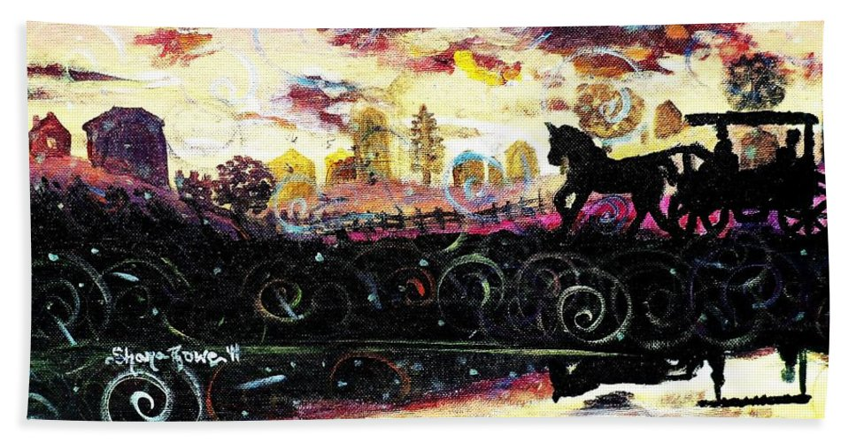 Horse And Buggy Beach Towel featuring the painting The Road To Home by Shana Rowe Jackson
