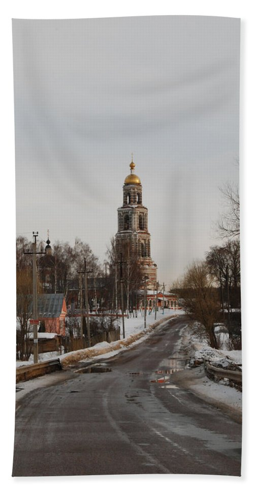 Cathedral Beach Towel featuring the photograph The Road To The Temple In The Early Spring. by Sergei Dolgov