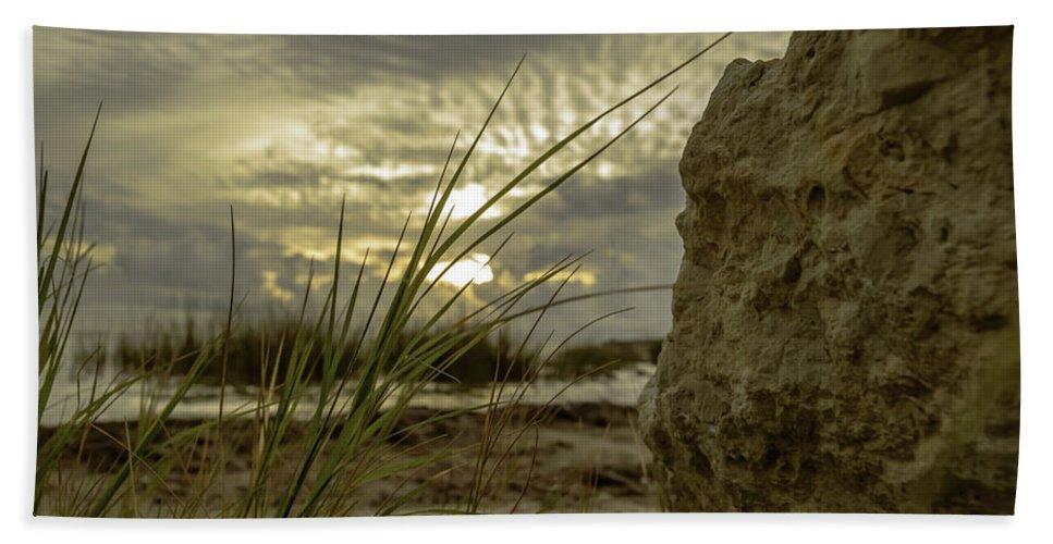 Sunrise Beach Towel featuring the photograph The Rock by Leticia Latocki