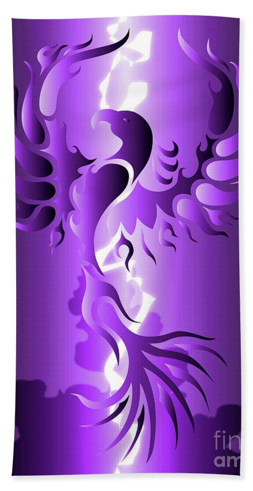 Digital Art Beach Towel featuring the digital art The Royal Phoenix by Robert Ball