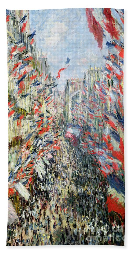 The Rue Montorgueil Beach Towel featuring the painting The Rue Montorgueil by Claude Monet