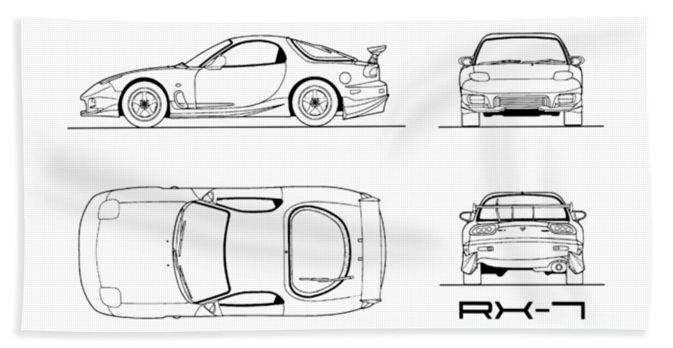 The rx 7 blueprint white beach sheet for sale by mark rogan mazda rx 7 beach sheet featuring the photograph the rx 7 blueprint white malvernweather Gallery