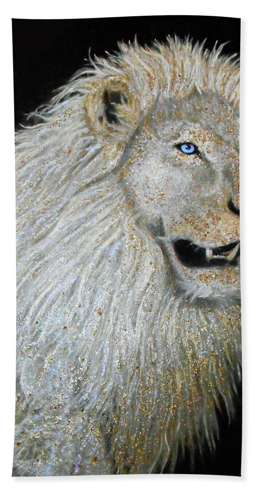 Lion Beach Towel featuring the painting The Sacred Spirit Of The White Lion by Michael Durst