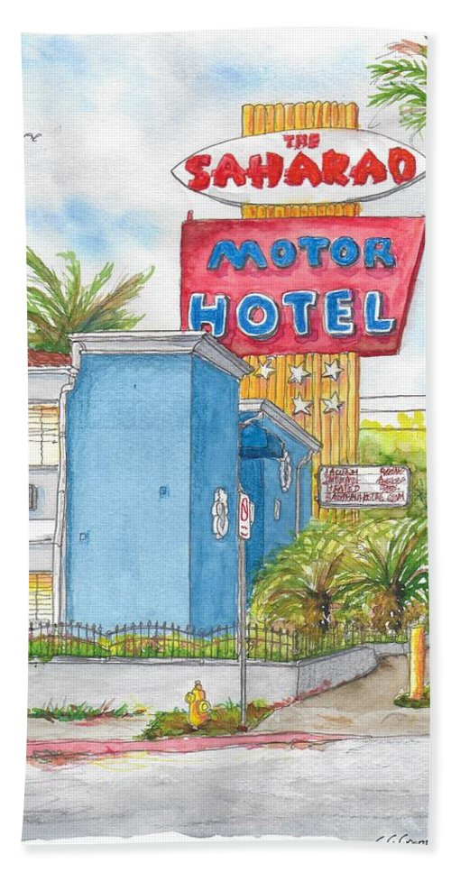 The Saharan Motor Motel In Hollywood, California Beach Towel