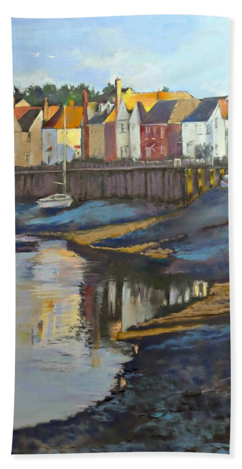 Landsape Beach Towel featuring the painting The Saltwater Village Evening by Angelina Whittaker Cook