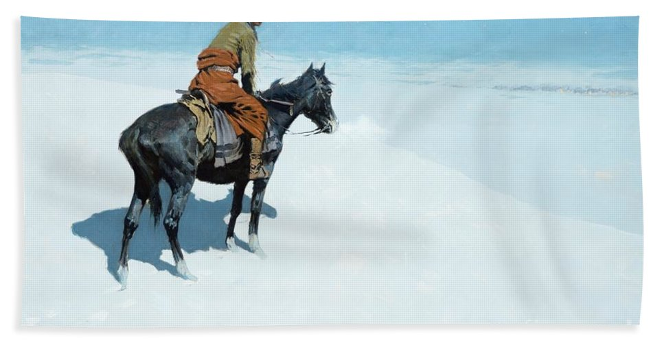 The Scout Beach Towel featuring the painting The Scout Friends Or Foes by Frederic Remington