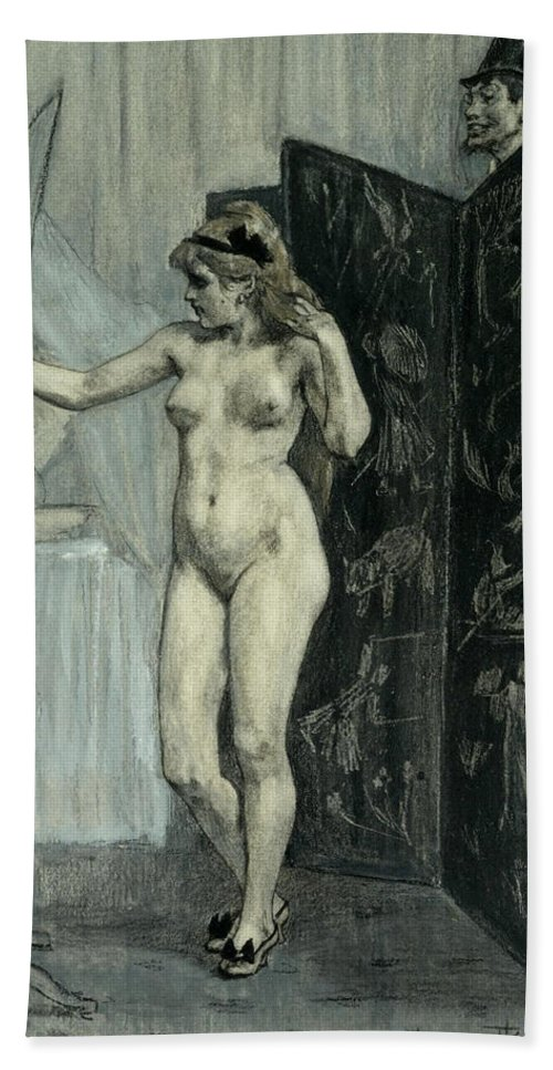 Felicien Rops Beach Towel featuring the drawing The Screen by Felicien Rops