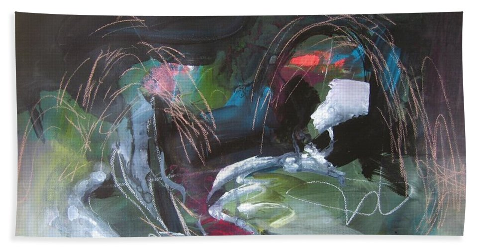 Abstract Beach Towel featuring the painting The Secret Of The Shadow Original Abstract Colorful Landscape Painting For Sale Red Blue Green by Seon-Jeong Kim