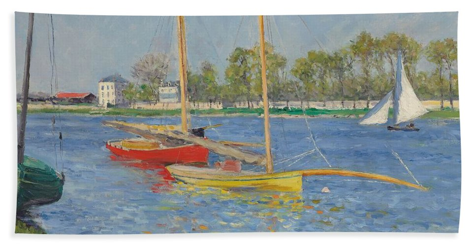 Argenteuil Beach Towel featuring the painting The Seine At Argenteuil by Gustave Caillebotte