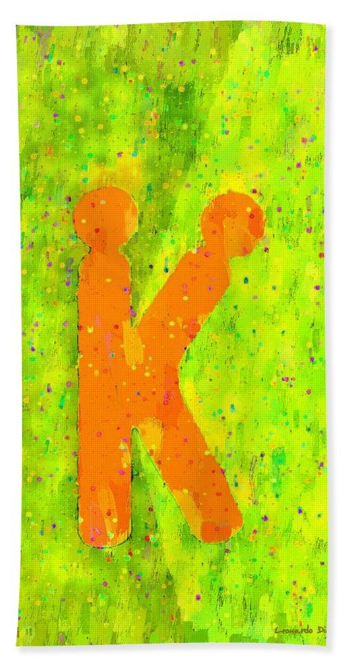 K Beach Towel featuring the painting The Sexy K - Orange - - Pa by Leonardo Digenio