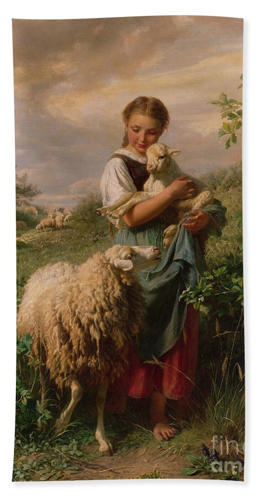 Shepherdess Beach Towel featuring the painting The Shepherdess by Johann Baptist Hofner