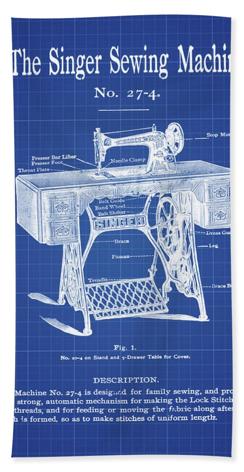 The singer sewing machine blueprint beach towel for sale by bill cannon the beach towel featuring the digital art the singer sewing machine blueprint by bill cannon malvernweather Gallery