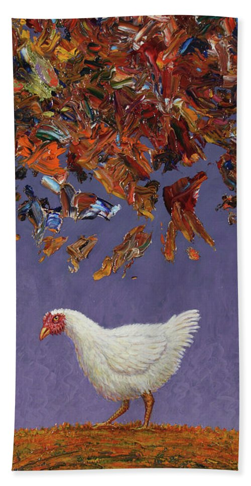 Chicken Little Beach Towel featuring the painting The Sky Is Falling by James W Johnson