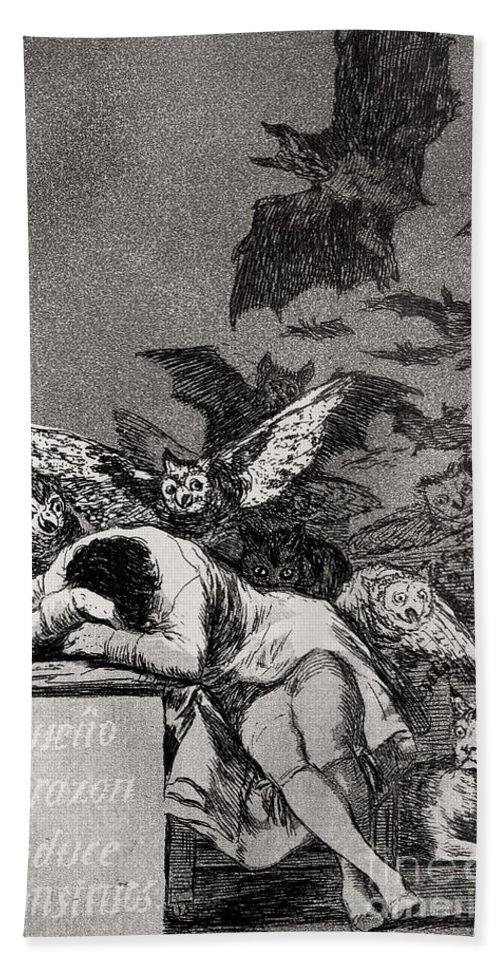 The Beach Towel featuring the painting The Sleep Of Reason Produces Monsters by Goya