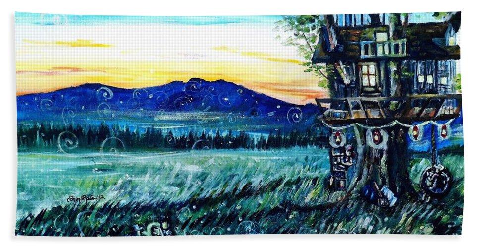 Treehouse Beach Towel featuring the painting The Sleepover by Shana Rowe Jackson