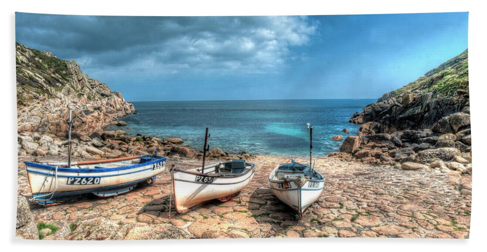Cornwall Beach Towel featuring the photograph The Slip, Penberth by Steve Payter