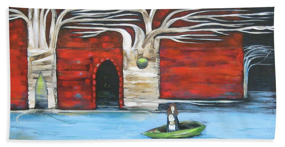 Sulaluna Beach Towel featuring the painting The Small Boat by Sue Wright