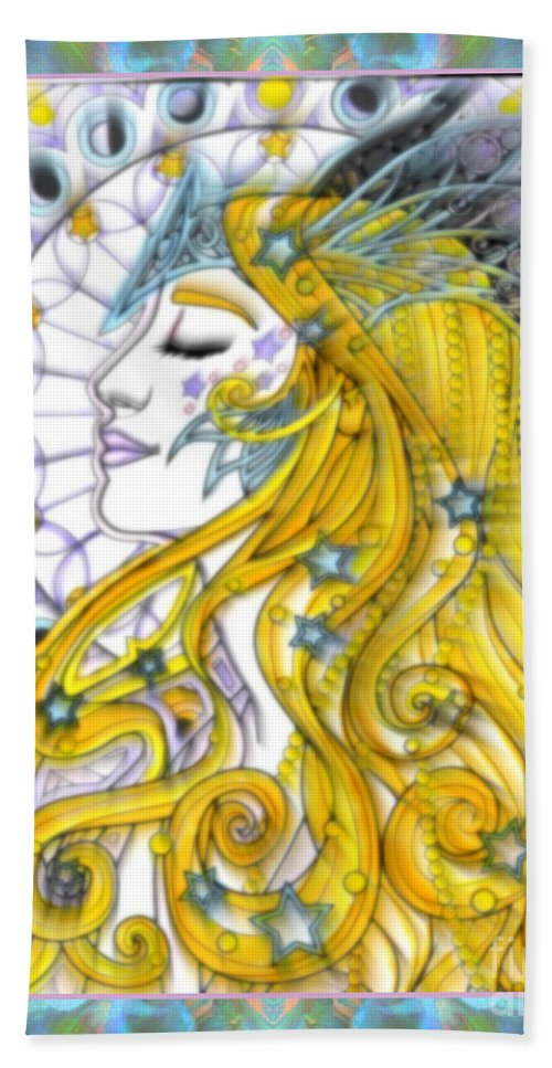 The Soothsayer By Wbk Beach Towel featuring the mixed media The Soothsayer by Wbk