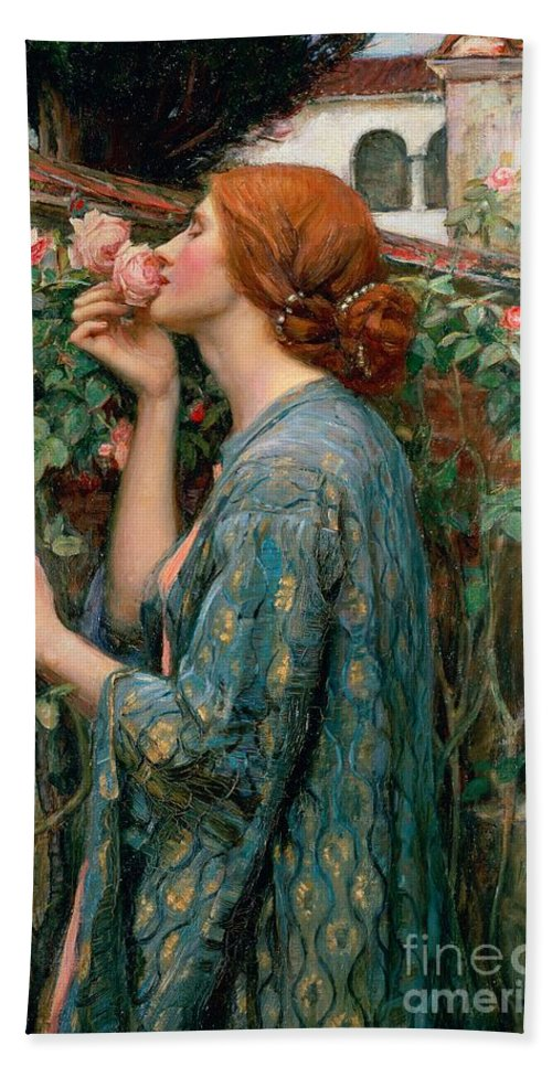 The Beach Towel featuring the painting The Soul Of The Rose by John William Waterhouse