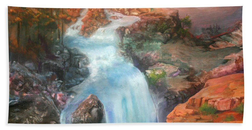 Waterfall Beach Towel featuring the painting The Source by Sherry Shipley