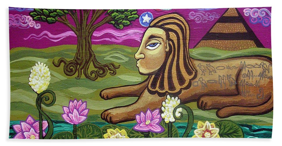 Egypt Beach Towel featuring the painting The Sphinx by Genevieve Esson