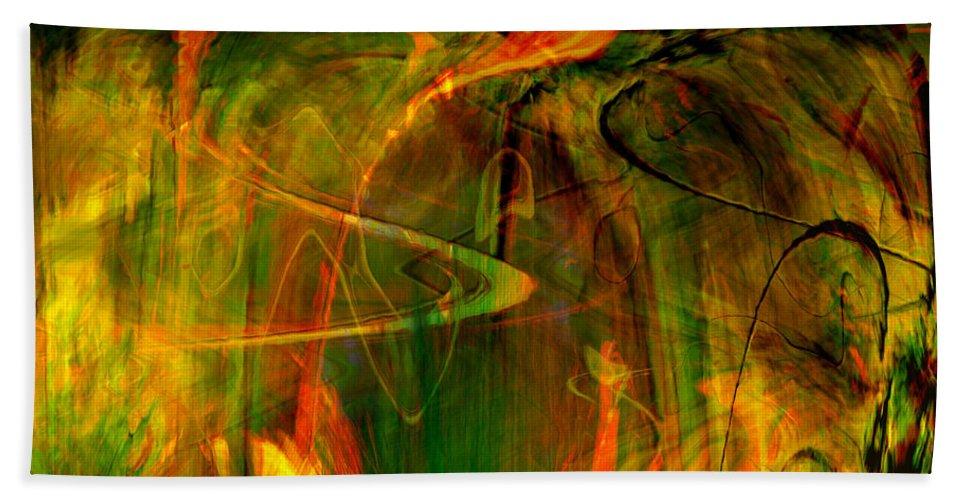 Abstract Digital Abstract Digital Painting Digital Art Design Dark Art Vibrant Art Yellow Beach Towel featuring the digital art The Spirit Glows by Linda Sannuti