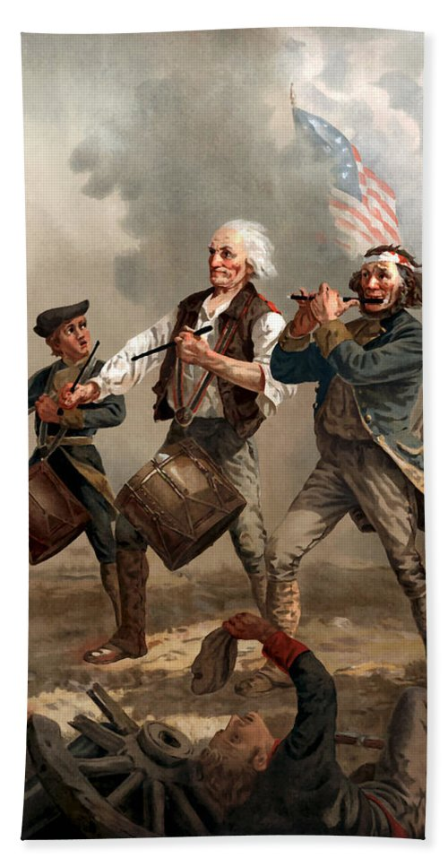 Yankee Doodle Beach Towel featuring the painting The Spirit Of '76 by War Is Hell Store