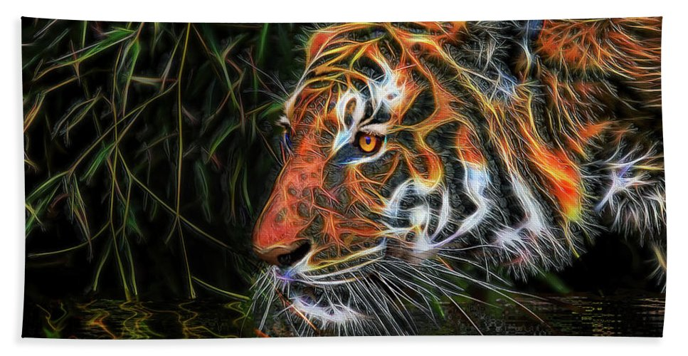 Tiger Beach Towel featuring the mixed media The Spirit Of The Tiger by Michael Durst