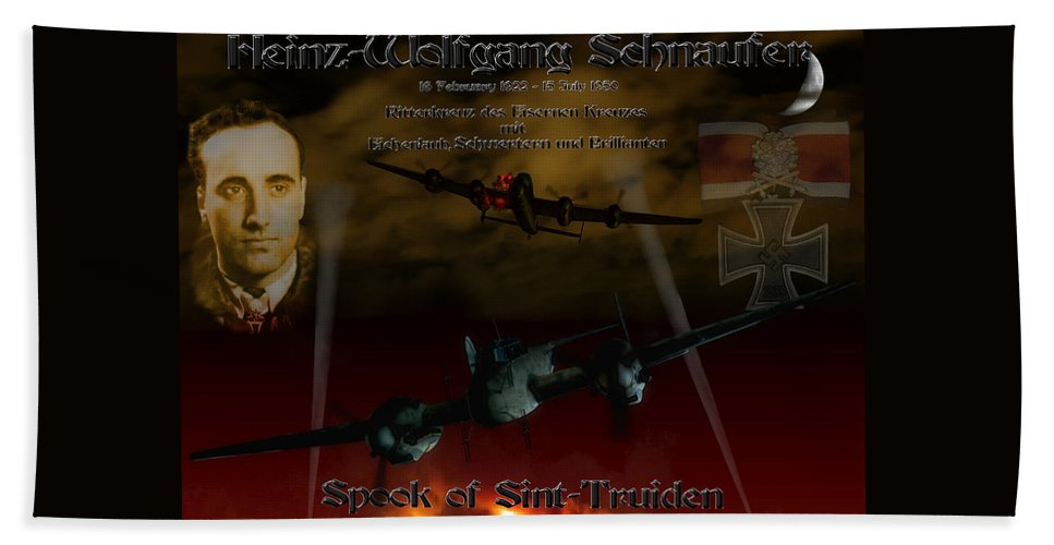 Me110 Beach Towel featuring the digital art The Spook Of St. Trond by Mil Merchant