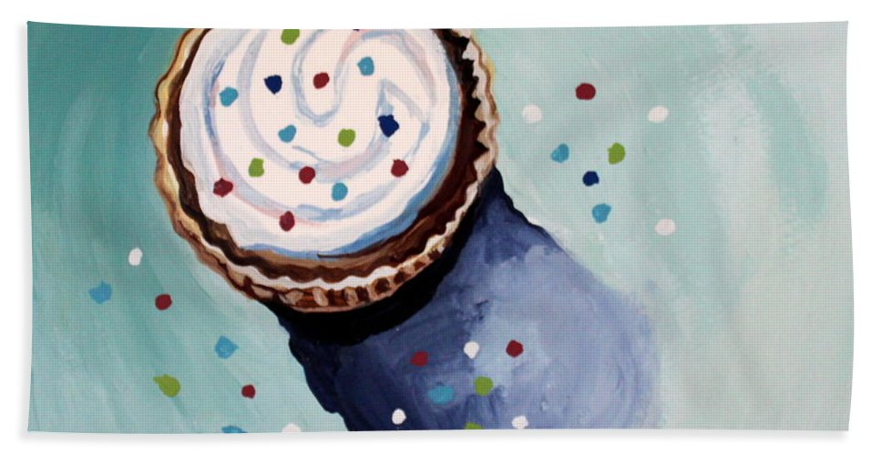 Cupcake Beach Towel featuring the painting The Sprinkled Cupcake by Elizabeth Robinette Tyndall
