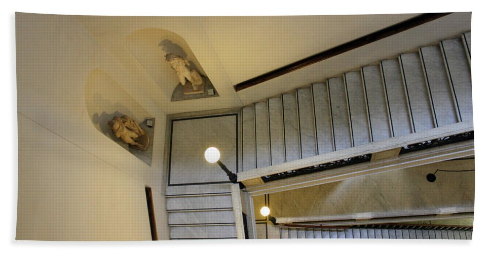 Rome Beach Towel featuring the photograph The Stairs To Museum by Munir Alawi