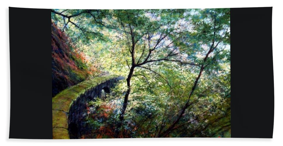 Pastel Beach Towel featuring the painting The Stone Wall by Jim Gola