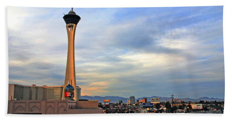 Photography Beach Towel featuring the photograph The Stratosphere In Las Vegas by Susanne Van Hulst
