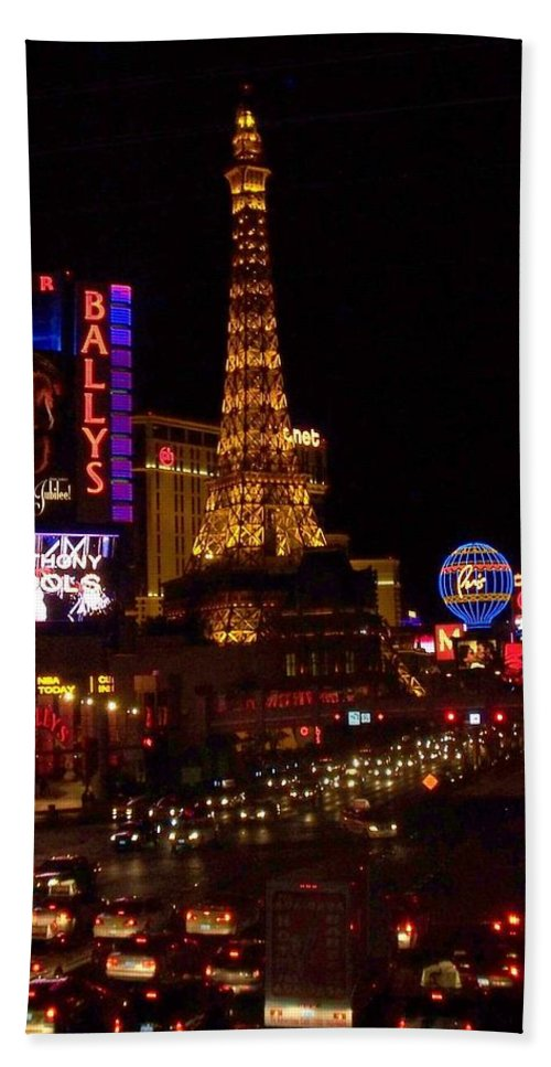Vegas Beach Towel featuring the photograph The Strip At Night 2 by Anita Burgermeister