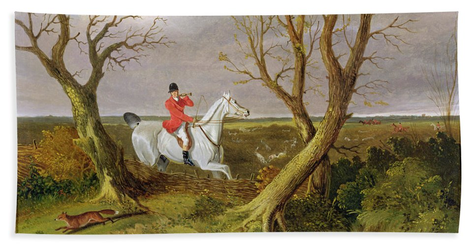 Xyc158550 Beach Towel featuring the photograph The Suffolk Hunt - Gone Away by John Frederick Herring Snr