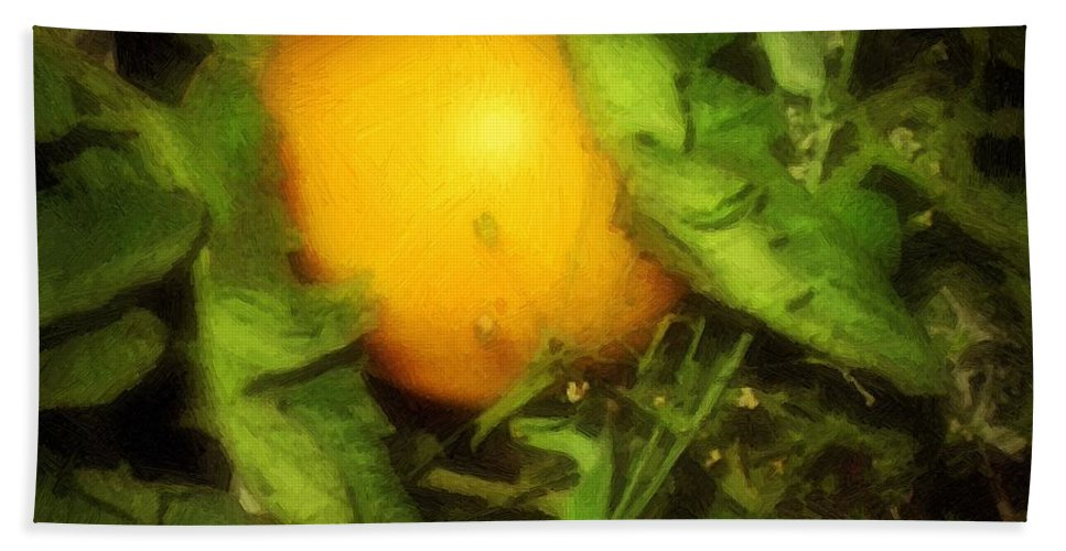 Garden Beach Towel featuring the painting The Sun Is Sleeping In The Garden by RC DeWinter
