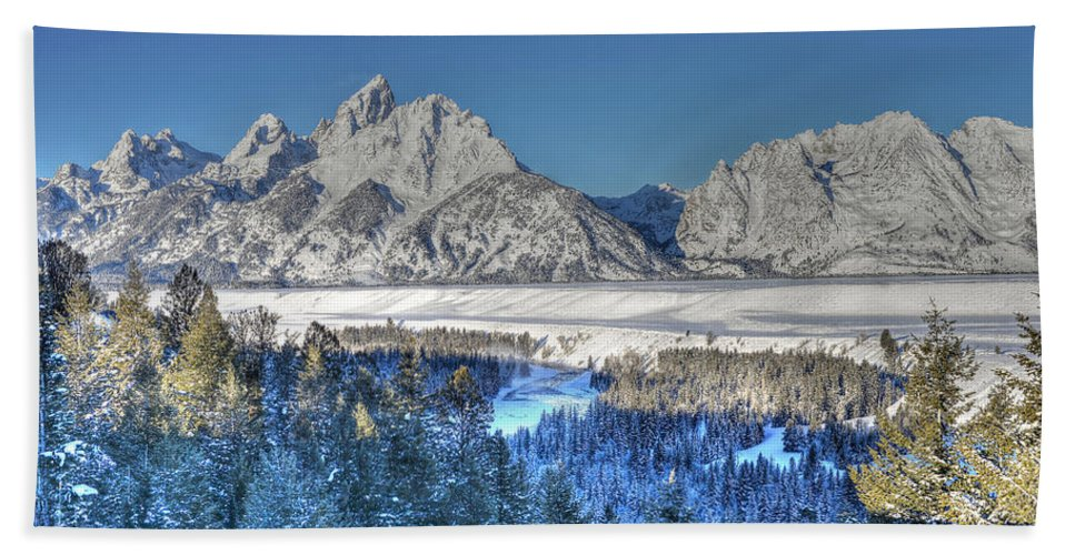 Grand Teton National Park Beach Towel featuring the photograph The Sun Rising On The Tetons by Don Mercer
