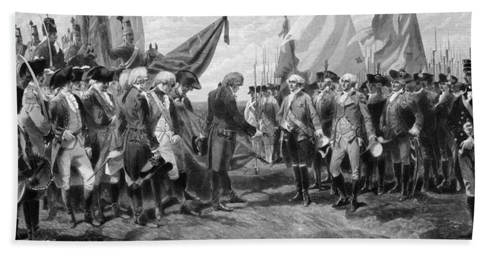 George Washington Beach Towel featuring the mixed media The Surrender Of Cornwallis At Yorktown by War Is Hell Store